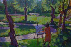 Anne Hilde maler i parken